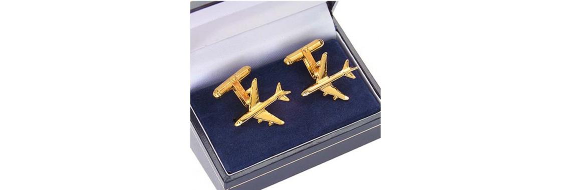 Cufflinks gold plated boeing 747